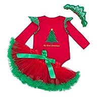 Il pacchetto include: 1 X Tutine + 1 X Gonne + 1 X Copricapo Materiale: 100% cotone Bello pagliaccetto del vestito dal motivo di Natale. Adatto per usura casuale, feste di Natale o come regalo per i tuoi bebè! Genere: adatta per neonate appena nate (...