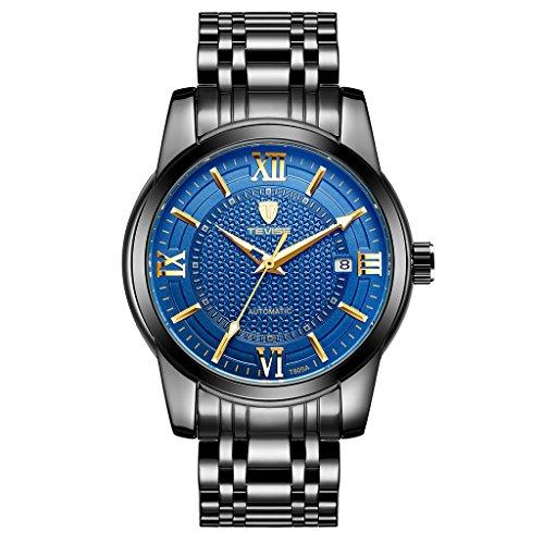 Colcolo TEVISE Reloj de Lujo para Hombre Reloj de Pulsera Automático con Cronógrafo Mecánico a Prueba de Agua - Negro, Azul