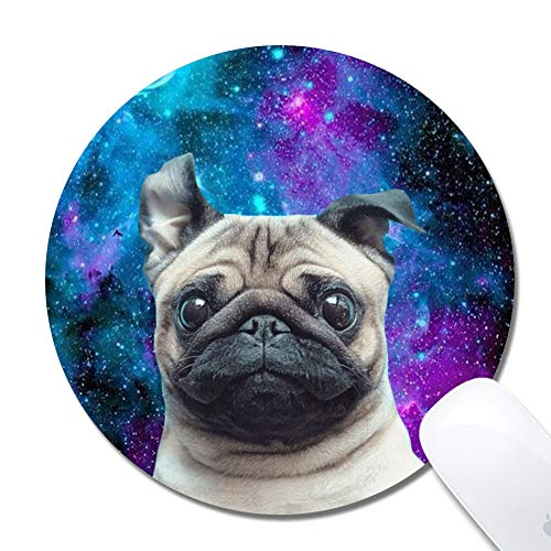 Mouse Pad with Stitched Edges,Galaxy Nebula Pug Customized Design Extended Gaming Mouse Pad Anti-Slip Rubber Base Ergonomic Mouse Pad for Computer -Black Round 200x3mm