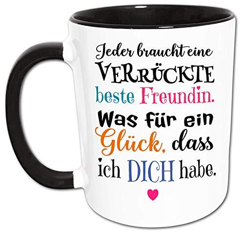 Beste Freundin Tasse mit Verrückt Glück Spruch, Freundin Geschenk, Geschenke für beste Freundin, Kaffeetasse, Kaffeebecher
