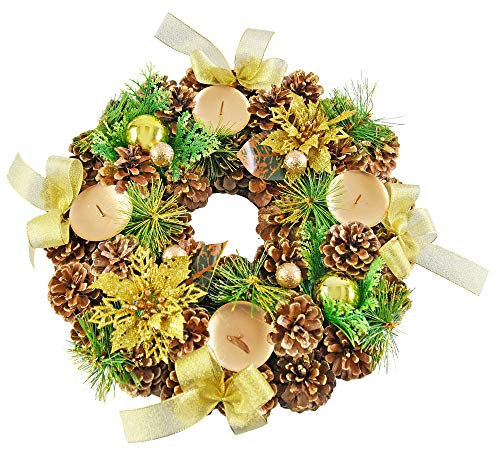 "Home-X Golden Pinecone Christmas Wreath Candle Holder, Artificial Advent Wreath, Winter Home Decorations, (13"" Diameter)"