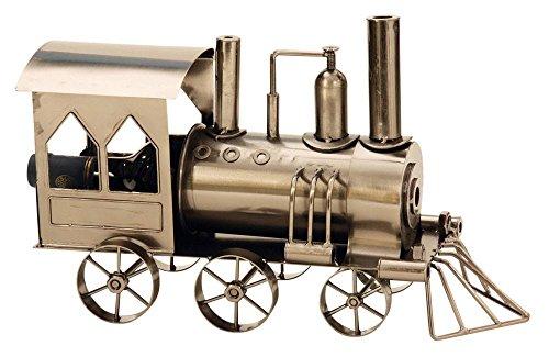 Moderner Wein Flaschenhalter Lokomotive aus Metall Höhe 23 cm Länge 37,5 cm