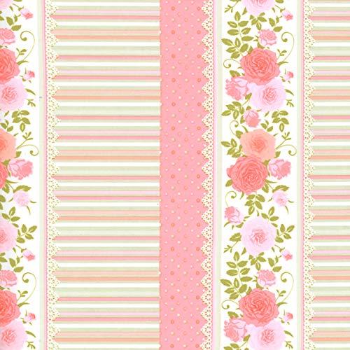 CRELANDO® Textil-Klebefolie für Möbel und Schreibwaren, 30 x 100 cm *selbstklebend (grün rosa orange gestreift Blumenmuster)