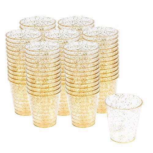 matana 300 Transparente Hartplastik Schnapsgläser mit Goldglitter, Party Shot Becher, 30ml - Wiederverwendbare & Stabil - Shotgläser aus Kunststoff.