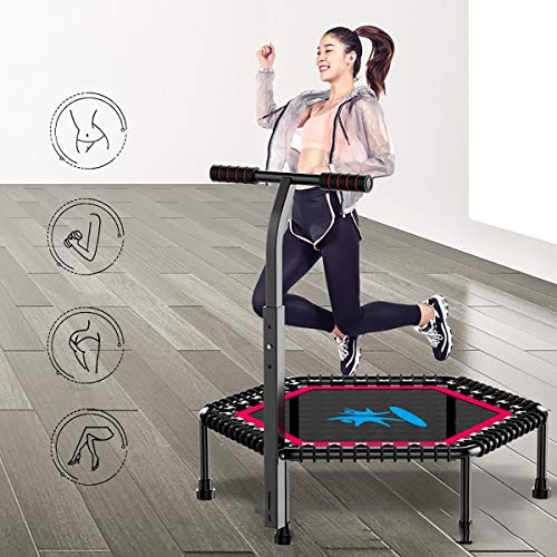 GAYBJ Fitness Trampoline with armrest 42/50 inch Quiet and Joint-gentle Bungee Ropes Adjustable Handle Foldable Fitness Trampoline/Indoor trampoline/Rebounder,A,42inch