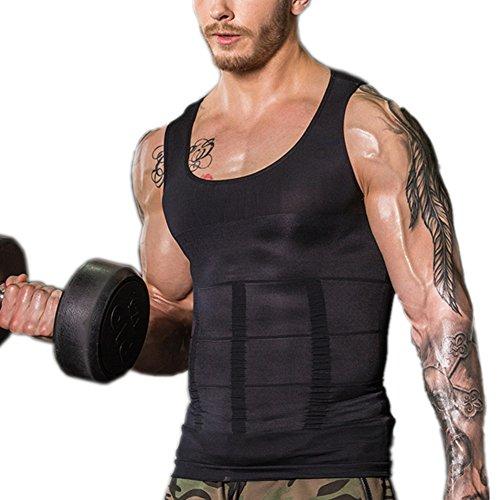 Ruiying Körperformendes T-Shirt Abnehmen Unterhemd Kompression Tank Top Bodyshaper Kompressionsunterhemd elastisch ärmellos bauchweg für Herren Männer (L, Schwarz)
