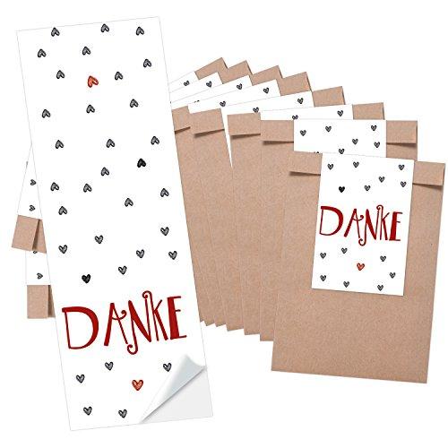 25 kleine braune Papier-Tüten Mini-Tütchen (8,5 x 13 cm) + 25 Banderolen (5 x 15 cm) DANKE rot graue HERZEN - Geschenktüten give-aways Mitgebsel Verpackung als Dankeschön für Gäste Kunden Freunde