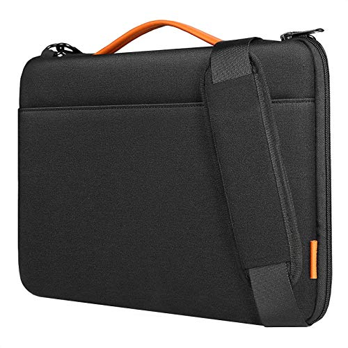 Inateck 14 Inch Laptop Shoulder Bag Spill resistant Laptop Sleeve Case Compatible with MacBook Pro 15 Inch 2019/2018/2017/2016, 14 Inch Laptop, Chromebook, Notebook, Ultrabook - Black