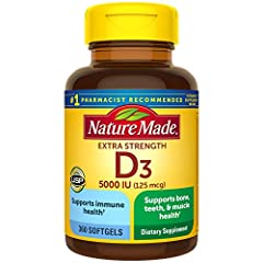 Serving Size: 1 D3 5000 IU soft gel per day. 1 soft gel = 5000 IU Contains a 360-day supply of Nature Made Extra Strength Vitamin D3 5000 IU (125 mcg), 360 Softgels per bottle Vitamin D supports bone, teeth, muscle and immune health Guaranteed to mee...