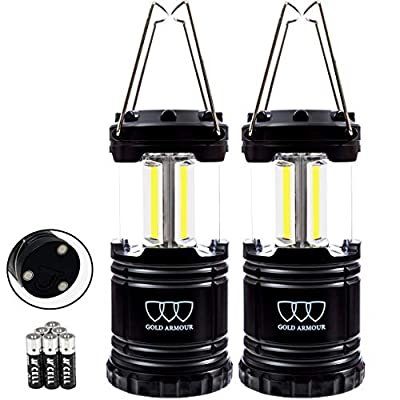 Gold Armour LED Camping Lantern, 4 Pack & 2 Pack, 500 Lumens, Survival Kits for Hurricane, Emergency, Storm, Outages, Outdoor Portable Lanterns Gear, Alkaline Batteries (2Pack Black)