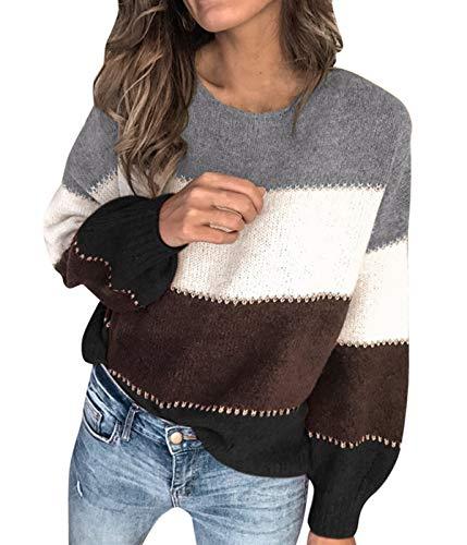 Jersey de mujer otoñal invierno a rayas con mangas largas cárdigan Sudadera Casual B-grigio S