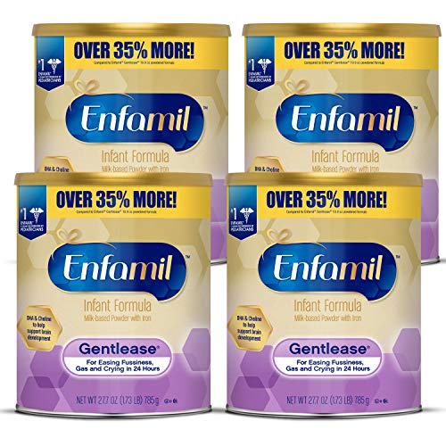 Enfamil Gentlease Easy- to-Digest Baby Formula 27.7 oz Can (Pack of 4) For Easing Gas, Fussiness & Crying in 24 Hours, Gentle Milk Powder, DHA and Choline for Brain Support
