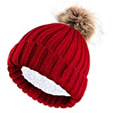 NEOLA Beanie Hat for Ladies Winter Bobble Hat Double Layer Fleece Line Knitted Hat with Detachable Faux Fur Pom Pom Hat (Red)