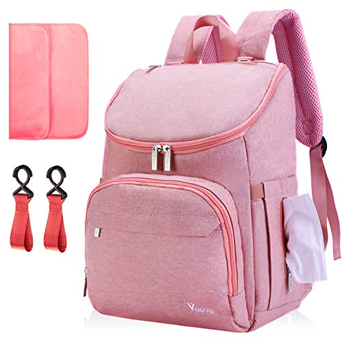 Diaper Bag Backpack, Voova Large Baby Bag Multifunction Travel Back Pack for Mom Women, Waterproof Maternity Nappy Bags with Changing Pad, Laptop Pocket & Stroller Straps for Baby Boys & Girls, Pink