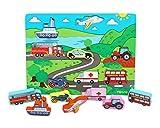 Toys of Wood Oxford Puzzle Voiture Bois Bebe - Shinnington Transport Peg Puzzle Taille Chunky - Jouets en Bois pour 18 Mois et Plus