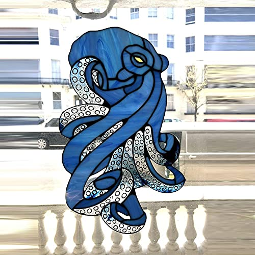 dfgh Octopused Uncatch Stained Suncatcher Hangings Stained Window Panel Series Funrain Octopus Painted Window Ornaments (Blue)