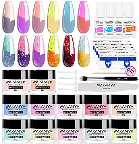 wakaniya 12 Farben Farbwechsel Dip Pulver Nagel Starter Kit Dipping Powder Nails Set Color Changing Dip Powde Starter Kit für Nail mit Nagelfeilen, Nagelreinigungsbürste, Nagelentfernungspad