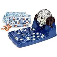 Chicos-Bingo Lotería automática con 48 cartones y 90 bolas imborrables, 23.5 x 31 x 17 cm, incluye fichas de juego, color azul, (Fábrica de Juguetes 20805)