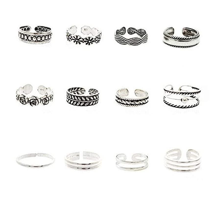 Myhouse 12pcs/Set Adjustable Toe Rings Set Classic Vintage Carved Bohemian Summer Charm Open Foot Finger Ring Accessories Gift