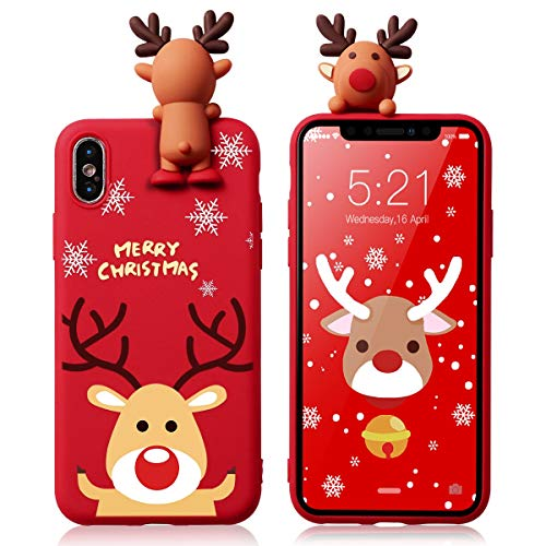 Yoedge Case for iPhone 7 Plus / 8 Plus Silicone 3D Cartoon Christmas Elk Animal Back Cover, Kids Girls Cool Cute Funny TPU Slim Fit Rubber Bumper Protective Shockproof Case for 7/8 Plus, Red 3