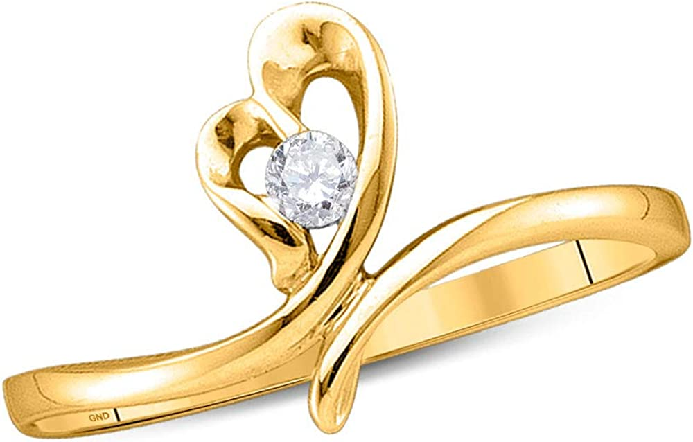 Dazzlingrock Collection 14kt Yellow Gold Womens Round Diamond Heart Promise Bridal Ring 1/12 ctw