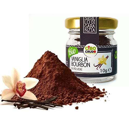CiboCrudo Vaniglia Bourbon in Polvere, Biologica Prima Qualità, Vanilla Powder Organic, Confezione in Vetro, Naturale al 100%, Etichettatura in Italiano, 10 g