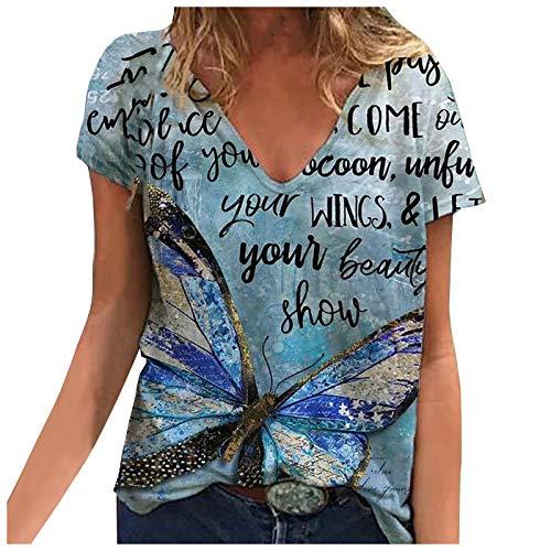 Camiseta Mujer de Manga Corta Blusa con Estampado de Mariposas Talla Grande,...
