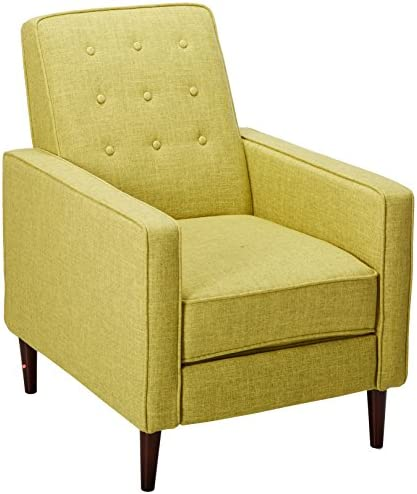 Best Christopher Knight Home Mervynn Mid-Century Modern Fabric Recliner, Muted Green / Dark Espresso