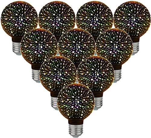 10-PC Bombillas de luz de Fuegos Artificiales G80 4W Bombilla LED 3D AC85-265V Bombilla de luz de vidrieras Star Shine Decoración Uso para decoración navideña de Vacaciones