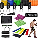 Resistance Bands for Exercise, Exercise Bands with Door Anchor, Handles,Weight Bands for Exercise Resistance Men, Home Workouts Loop, Instant Cooling Towel-150LBS