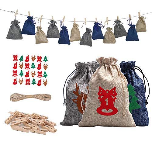 FAM STICKTILES 24 Adventskalender zum Befüllen, 2020 Weihnachts Adventskalender mit Adventszahlen Filz Aufkleber DIY Weihnachten Geschenksäckchen