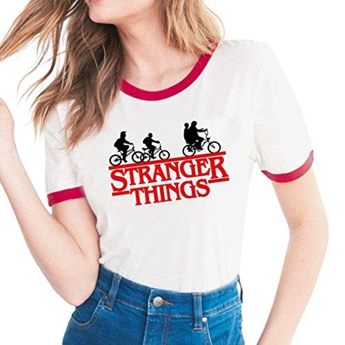 Yuanu Amantes Spring Verano Tamaño Grande Manga Corta Cuello Redondo Camiseta, Suave Cómodo Slim T-Shirt con Cartas/Patrones Temática Impresión sobre Stranger Things Impresión Estilo 12 S