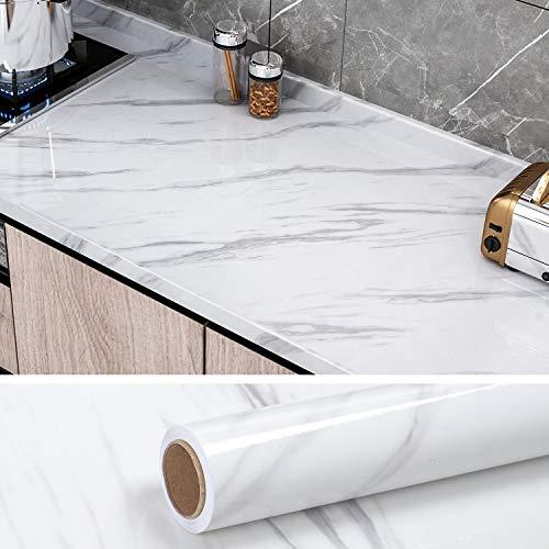 VEELIKE Papel Pintado Autoadhesivo Lavable 40cm x 300cm Vinilo Adhesivo para Encimera de Cocina Papel Adesivo Decorativos Muebles Adhesivo Mármol Blanco y Gris para Puertas de Armario
