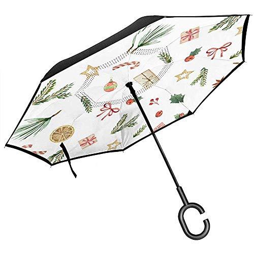 Merle House Aquarell-Weihnachtskarte mit Tannenzweigen Reverse Umbrella Double Layer Inverted Umbrellas für Auto Regen im Freien mit C-förmigen Griff