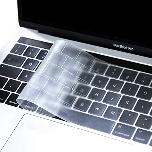 MOSISO Premium Ultra Thin TPU Keyboard Cover Compatible with MacBook Pro with Touch Bar 13/15 Inch 2019/2018/2017/2016 Release, A2159/A1989/A1706, A1990/A1707 Transparent Skin - EU Layout, Clear