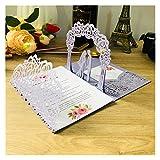 Tarjeta de Felicitación  (10pcs / Lote) 3D Pop-up Blanco Tarjeta de invitación de Boda TTI-plegada Bolsa de Corte de Novia y Novio Saludo Invitación Tarjetas (Farbe : Violet, Größe : Whole Set)