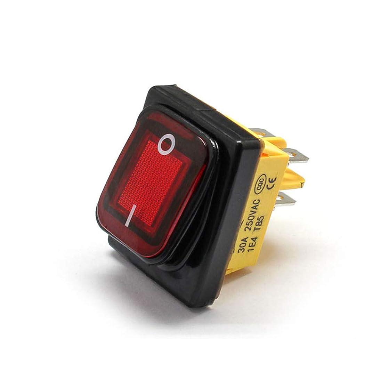 薄いです一部接続された瞬間的なロッカースイッチ、ヘビーデューティIP68防水LEDトグルスイッチIP67 LEDランプ照光式スイッチ4本のピン,赤,220v