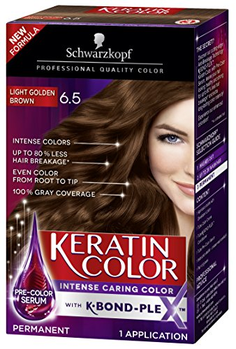 Schwarzkopf Keratin Color Anti-Age Hair Color Cream, 6.5 Light Golden Brown (Packaging May Vary)