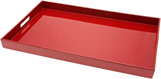 Kotobuki Rectangular Lacquer Serving Tray, 18-3/4-Inch, Red
