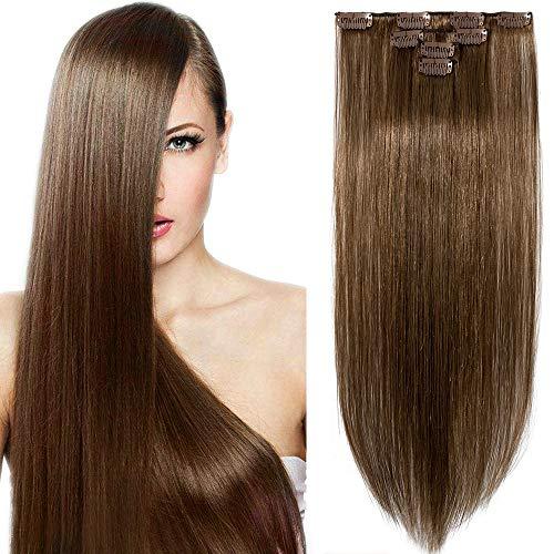 Clip in Haarverlängerung Extensions Remy Echthaar 4 Tressen DOPPELT DICKE real Haarteil Hellbraun#6 12