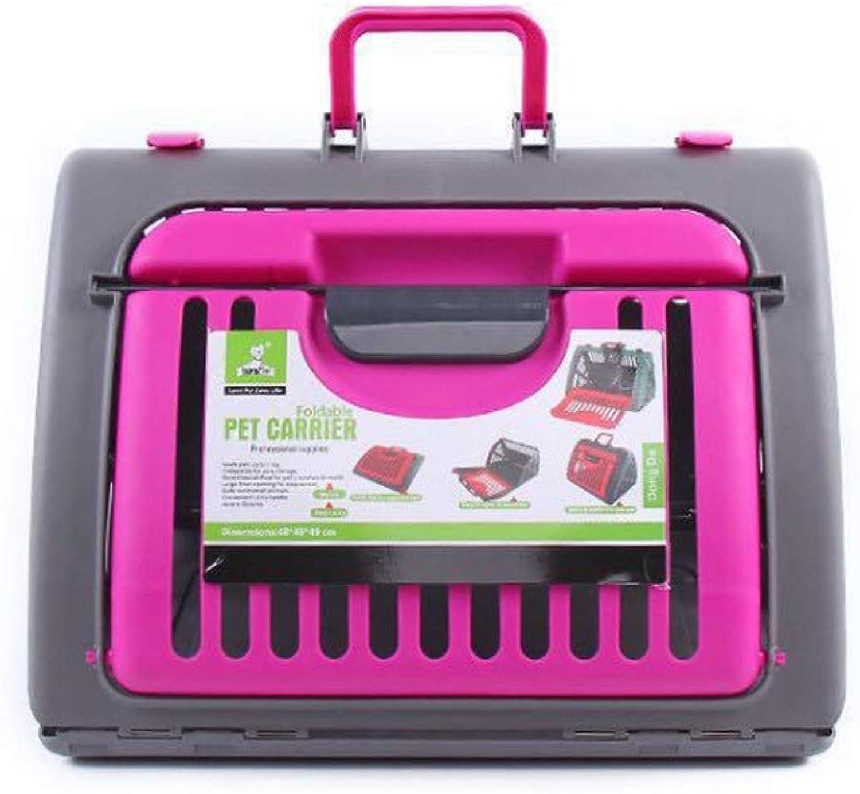 Foldable Portable Cat Cage Dog Cage Pet Supplies Outing Portable Breathable Pet Cage Breathable Mesh Pet Bag (color   PINK)