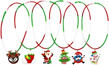 Hemobllo 6pcs Adorable Christmas Necklace Novelty Creative Silicone Necklace Chriatmas Tree Santa Christmas Stocking Pende...