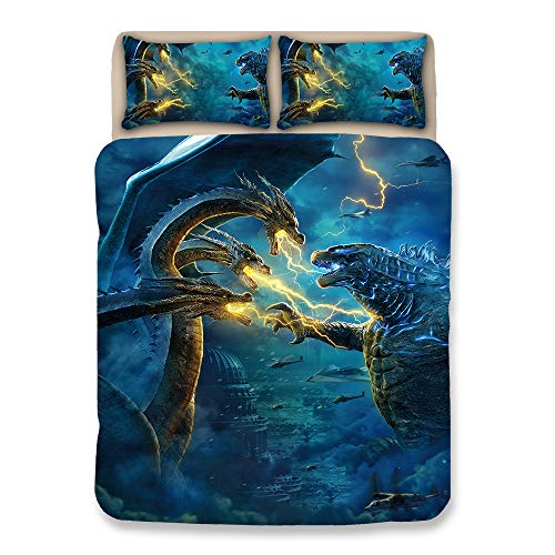Paixide 3D Printed Godzilla Dinosaur Duvet Cover Cartoon Bedding Sets with 3 Pieces 1 Duvet Cover 2 Pillowcases,(No Comforter) Best Gift for Kids, Twin