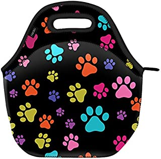 WIRESTER Neoprene Lunch Bag for Work, Picnics, Camping and School - Multicolor Paws Dog