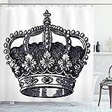 SanJIUCOM Cortina de Ducha Queen de 72 x 72 Pulgadas, Antiguo Rey de la Corona Real, Emperador, gobernante, zar, Autoridad de la monarquía, Juego de baño de Tela con Ganchos, Monocromo
