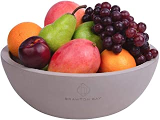 "Decorative Fruit Bowl for Kitchen or Dining Room, Concrete, Gray - Extra Large Food Bowls for Snacks, Candy - Handmade Kitchen Accessories for Tables and Countertops, 12"" Diameter"