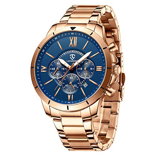 Reloj de pulsera para hombre, de moda, casual, cronógrafo, analógico, cuarzo, visualización de fecha, resistente al agua, para negocios