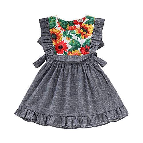 Vestido BAOBAOLAI Babá Irmã combinando com estampa floral borla Romper laço sem mangas Vestido infantil meninas saia