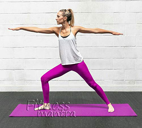 Fitness Mantra® Purple Yoga Mat with Hanging/Carrying Strap for Gym Workout with 4 mm Thickness, Anti-Slip Yoga Mat for Men & Women Fitness |Qnty.- 1 Pcs.|The Origin of India|