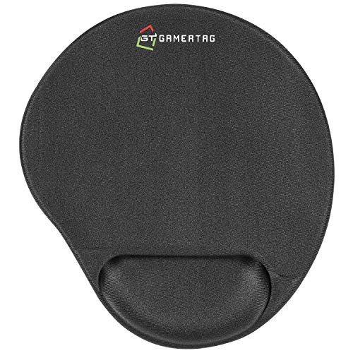 GamerTag Gaming Mouse Pad with Wrist Support, Cool Gel Ergonomic Home Office Mousepad, Precision Accuracy and Responsiveness for Video Games, Non-Slip Base